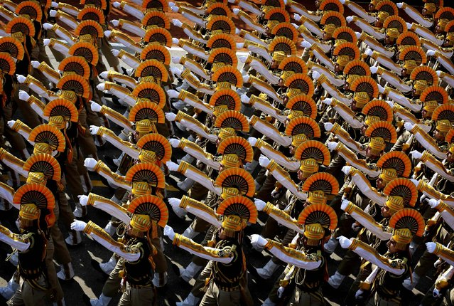 Indian paramilitary forces march during the annual Republic Day parade on Rajpath in New Delh, January 26, 2013. Republic Day commemorates the 1950 adoption of India's constitution. (Photo by Kevin Frayer/Associated Press)