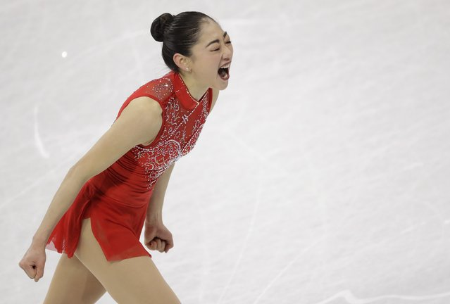 Mirai Nagasu of the United States celebrates after her performance in the ladies single skating free skating in the Gangneung Ice Arena at the 2018 Winter Olympics in Gangneung, South Korea, Monday, February 12, 2018. (Photo by Bernat Armangue/AP Photo)