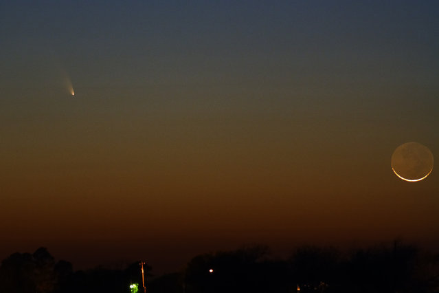Comet PanSTARRS & The Moon, on March 12, 2013 in  Louisiana. This is a single 2 second exposure with a Canon 200mm F/2.8 lens, a Canon XS (modified) and ISO 800 settings. (Photo by Mike B.)