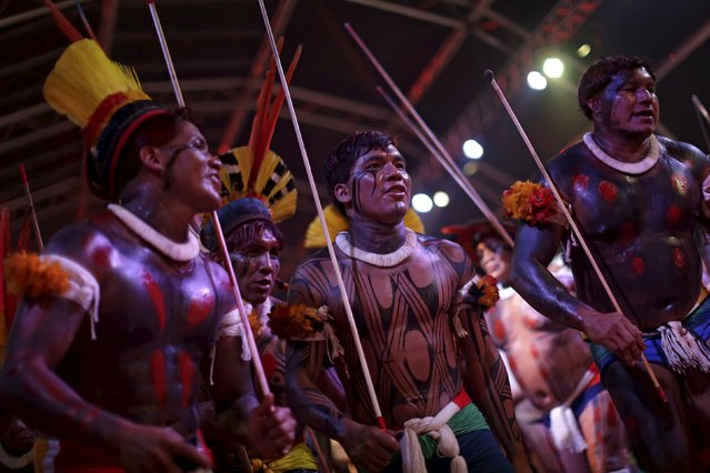 Indigenous people from the Kuikuru tribe dance during a presentation before the I World Games for Indigenous People in Palmas, Brazil, October 21, 2015. (Photo by Ueslei Marcelino/Reuters)