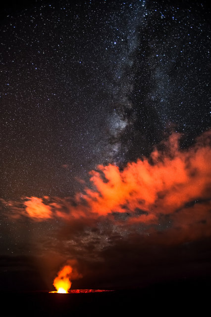 """Milkyway Over Halemaʻumaʻu Crater"". Mother Nature's awesome power on display at Hawaii Volcanoes National Park Lighting up the Night with both Celestial and Terrestrial Flames. A scene like this often makes us wonder our place in the universe... (Photo and caption by Zong Ye Quek/National Geographic Traveler Photo Contest)"