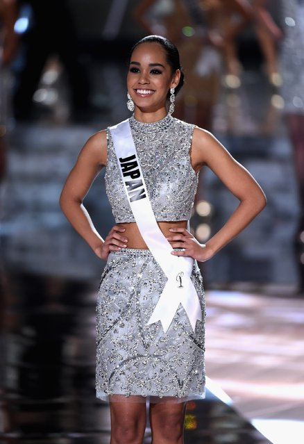 Top 15 contestant Miss Japan 2015, Ariana Miyamoto, walks onstage during the 2015 Miss Universe Pageant at The Axis at Planet Hollywood Resort & Casino on December 20, 2015 in Las Vegas, Nevada. (Photo by Ethan Miller/Getty Images)