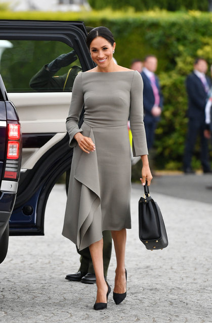 The Duchess of Sussex arriving to meet Michael Higgins at Aras an Uactharain on the second day of the Royal couple's visit to Dublin, Ireland on July 11, 2018. (Photo by Joe Giddens/PA Wire)