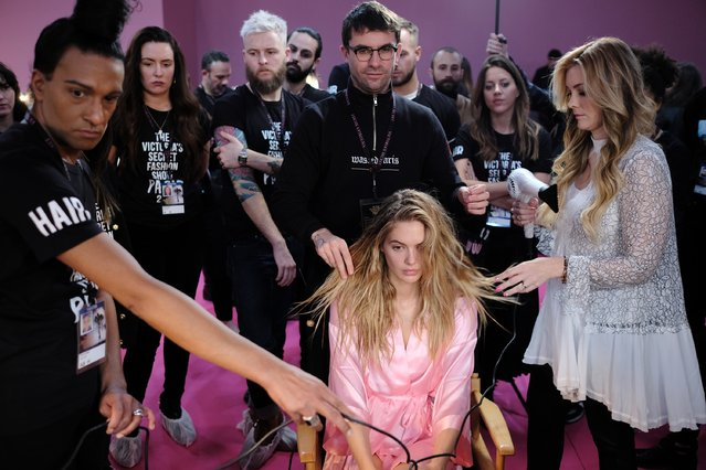 Megan Williams has her Hair & Makeup done prior the 2016 Victoria's Secret Fashion Show on November 30, 2016 in Paris, France. (Photo by Dimitrios Kambouris/Getty Images for Victoria's Secret)