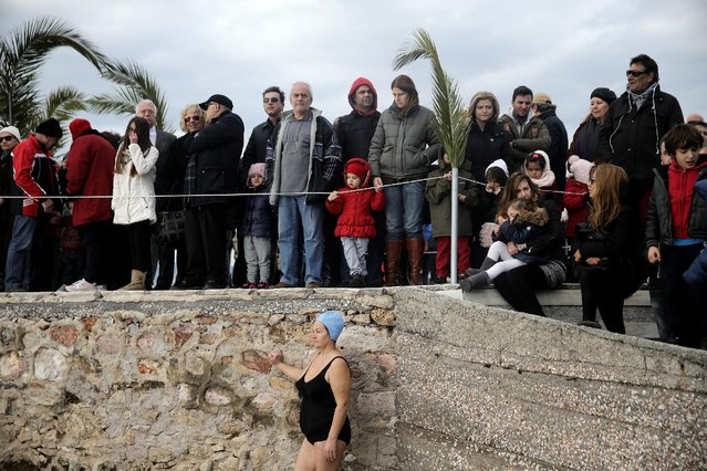 Orthodox faithful attend Epiphany day celebrations in the southern suburb of Faliro in Athens, Greece January 6, 2017. (Photo by Alkis Konstantinidis/Reuters)