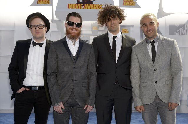 "Rock band ""Fall Out Boy"" arrives at the 2015 MTV Movie Awards in Los Angeles, California April 12, 2015. (Photo by Phil McCarten/Reuters)"