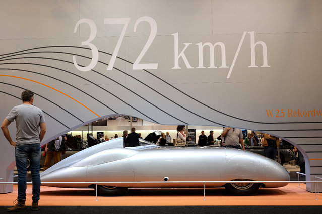 "A Mercedes vintage car is  on display at the ""Techno Classica"" trade fair in the western German city of Essen on April 16, 2015. The car show, which is the world's biggest car fair where car are on sale, takes place from April 15 to April 19, 2014. (Photo by Patrik Stollarz/AFP Photo)"