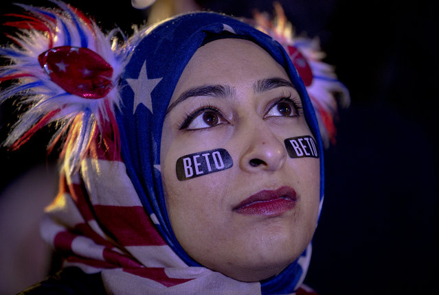 Muna Hussaini listens to Democratic presidential candidate and former Texas congressman Beto O'Rourke speak during a presidential campaign rally kickoff on Saturday, March 30, 2019, in Austin, Texas. (Photo by Kick Wagner/Austin American-Statesman via AP Photo)