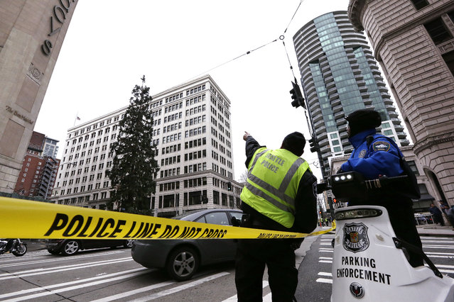 Police look across the street and up at an 80-foot tall sequoia tree where a man continues to perch near the top Wednesday morning, March 23, 2016, in downtown Seattle. Authorities were alerted to the unidentified man in the tree around 11 a.m. Tuesday and he was still clinging to its branches nearly a day later. The man, name and cause unknown, has transfixed the city and the Internet over the past two days as his action prompted police to close adjacent streets and as negotiators tried to coax him downr. (Photo by Elaine Thompson/AP Photo)