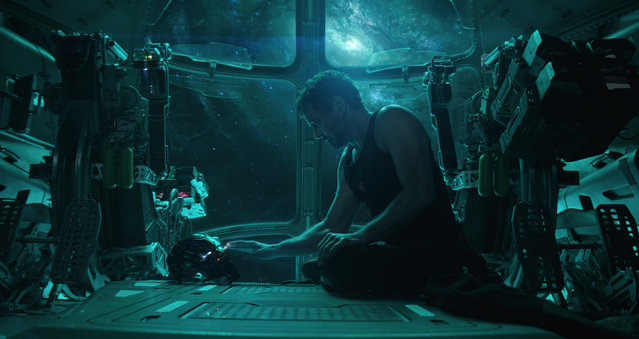 "This image released by Disney shows Robert Downey Jr. in a scene from ""Avengers: Endgame."" (Photo by Disney/Marvel Studios via AP Photo)"