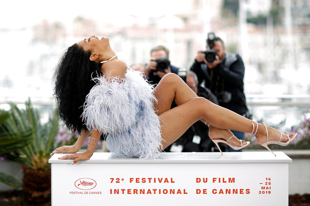 """US actress, model and transgender activist Leyna Bloom poses during a photocall for the film """"Port Authority"""" at the 72nd edition of the Cannes Film Festival in Cannes, southern France, on May 19, 2019. (Photo by Stephane Mahe/Reuters)"""