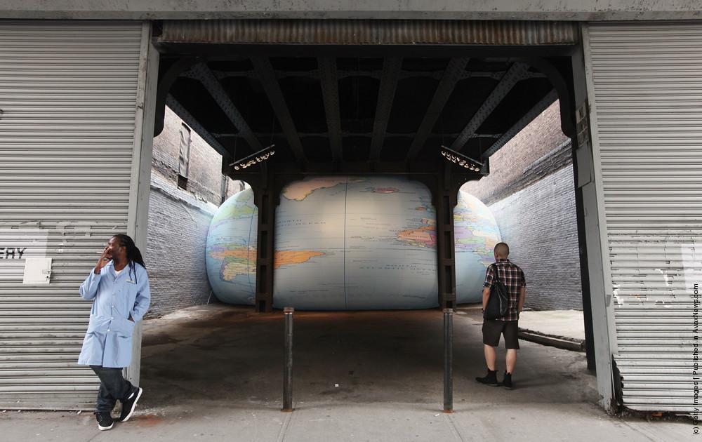 David Byrne's Large Inflatable Globe Sound Installation On Display In Manhattan