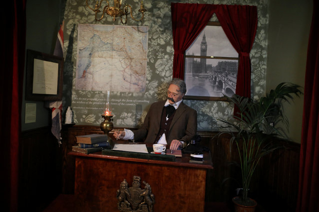 The Walled Off comes complete with life-sized diorama of Arthur James Balfour signing the 1917 letter that came to be known as the Balfour declaration in the Walled Off hotel which was opened by street artist Banksy, in the West Bank city of Bethlehem March 3, 2017. (Photo by Ammar Awad/Reuters)