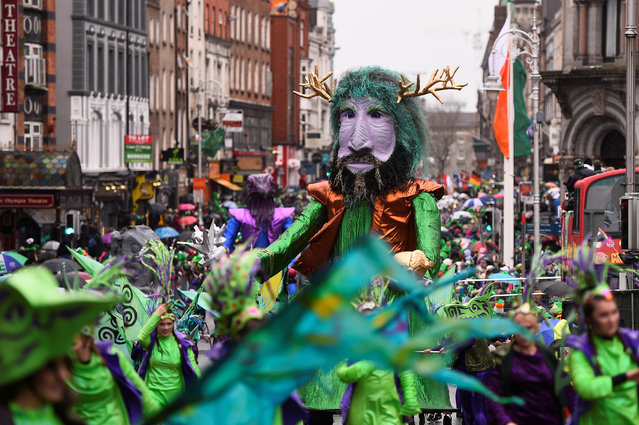 A float is seen during the St. Patrick's day parade in Dublin, Ireland on March 17, 2017. (Photo by Clodagh Kilcoyne/Reuters)