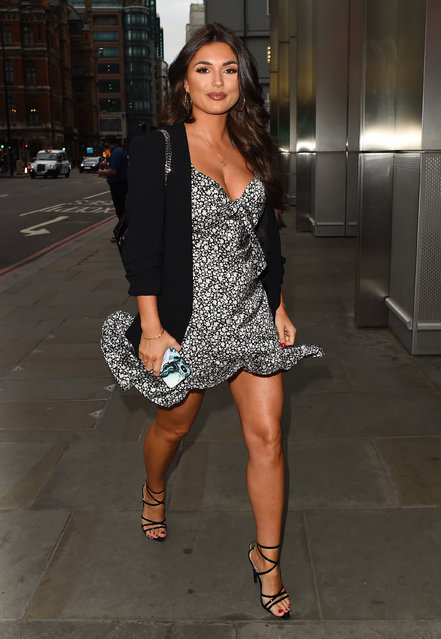 India Reynolds attends the boohooMAN Dinner to celebrate the launch of BoohooMAN collaboration with Tommy Fury at Sushisamba City in London, England on September 2, 2019. (Photo by Splash News and Pictures)
