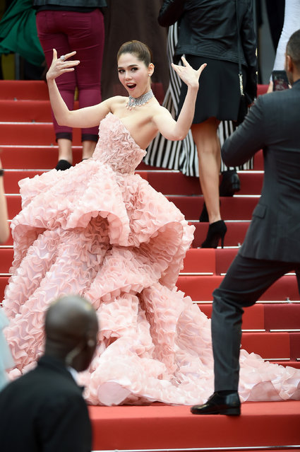 """Actress Araya A. Hargate attends the """"Cafe Society"""" premiere and the Opening Night Gala during the 69th annual Cannes Film Festival at the Palais des Festivals on May 11, 2016 in Cannes, France. (Photo by Ian Gavan/Getty Images)"""