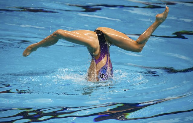 China's Huang Xuechen performs in the synchronised swimming solo free routine preliminary at the Aquatics World Championships in Kazan, Russia July 27, 2015. (Photo by Michael Dalder/Reuters)