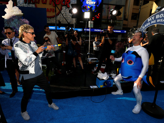 "Cast member Ellen DeGeneres squirts tequila during a gag for her television show at the premiere of ""Finding Dory"" at El Capitan theatre in Hollywood, California U.S., June 8, 2016. (Photo by Mario Anzuoni/Reuters)"