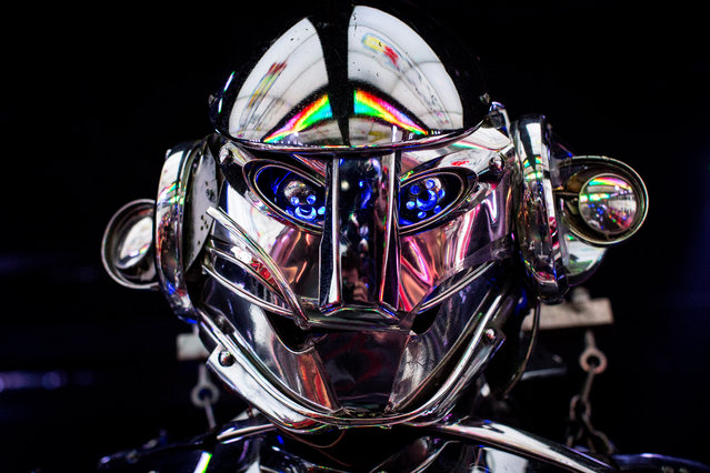 A large robot is seen during a show at The Robot Restaurant on June 29, 2014 in Tokyo, Japan. The now famous Robot Restaurant opened two years ago in Kabukicho area of Shinjuku at an estimated cost of 10 million U.S. dollars.  Performances are held three times a day and cater mostly to foreign tourists. (Photo by Chris McGrath/Getty Images)