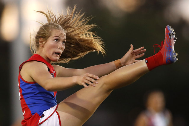 Eden Zanker of the Demons kicks the ball during the 2020 AFLW Round 03 match between the St Kilda Saints and the Melbourne Demons at RSEA Park on February 21, 2020 in Melbourne, Australia. (Photo by Dylan Burns/AFL Photos via Getty Images)