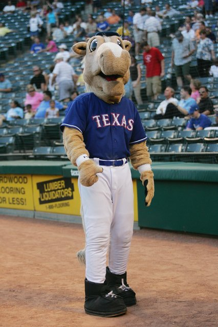 "The Texas Rangers mascot ""Rangers Captain"" entertains before the start of the MLB game between the Chicago White Sox and the Texas Rangers on August 28, 2007 at Rangers Ballpark in Arlington, Texas.  (Photo by: Ronald Martinez/Getty Images)"