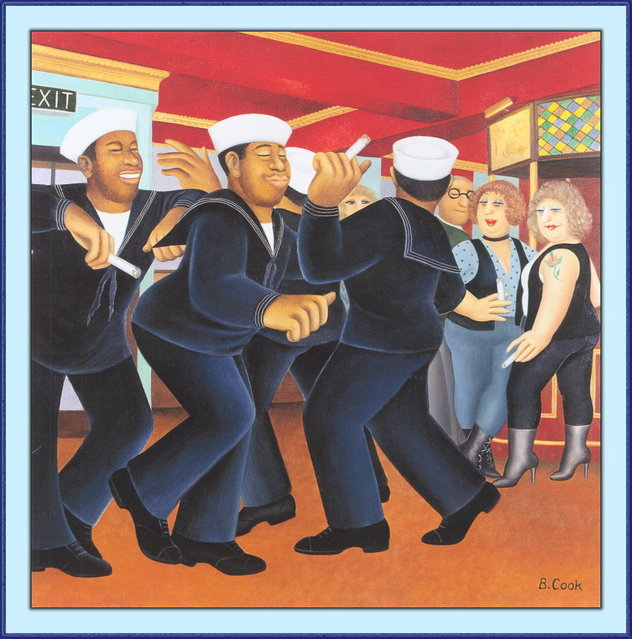 Sailors Dancing. Artwork by Beryl Cook