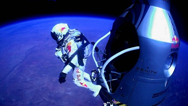 Baumgartner jumps out of the capsule during the final manned flight for Red Bull Stratos. Baumgartner shattered the sound barrier while making the highest jump ever. (Photo by Red Bull Stratos)
