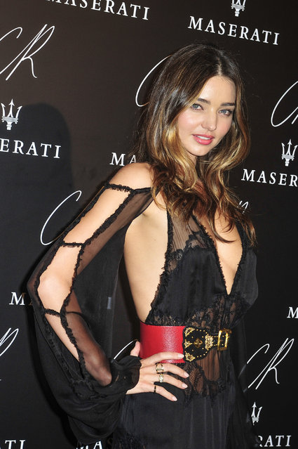 Miranda Kerr attends Carine Roitfeld & Stephen Gan celebration of the launch of CR Fashion Book N.5 in Paris, Tuesday, September 30, 2014. (Photo by Zacharie Scheurer/AP Photo)
