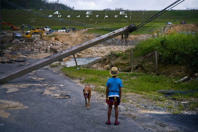 In this October 17, 2017 file photo, a boy accompanied by his dog watches the repairs of Guajataca Dam, which cracked during the passage of Hurricane Maria, in Quebradillas, Puerto Rico. Experts said on Thursday, November 16, 2017, that Puerto Rico could face nearly two decades of further economic stagnation and a steep drop in population as a result of Maria. (Photo by Ramon Espinosa/AP Photo)
