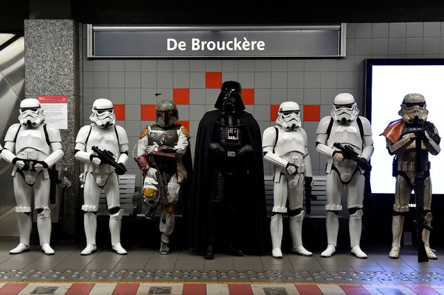 Participants wearing Star Wars costumes are seen at the De Brouckere metro station after the Balloon's Day Parade in Brussels September 4, 2016. (Photo by Eric Vidal/Reuters)