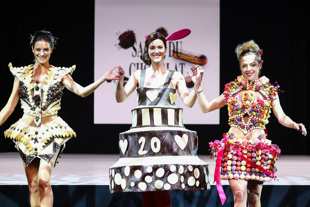 (L-R) Nubia Esteban, Sandra Lou and Victoria Monfort walk the runway during the Fashion Chocolate show at Salon du Chocolat at Parc des Expositions Porte de Versailles on October 28, 2014 in Paris, France. (Photo by Richard Bord/Getty Images)