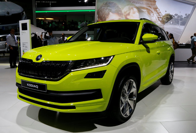 A Skoda Kodiaq SUV is displayed at the Mondial de l'Automobile, Paris auto show, during media day in Paris, France, September 29, 2016. (Photo by Jacky Naegelen/Reuters)