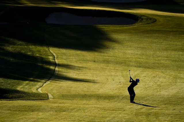 Charley Hull, of England, hits from the fairway on the 11th hole during the second round of the KPMG Women's PGA Championship golf tournament at the Aronimink Golf Club, Friday, October 9, 2020, in Newtown Square, Pa. (Photo by Matt Slocum/AP Photo)