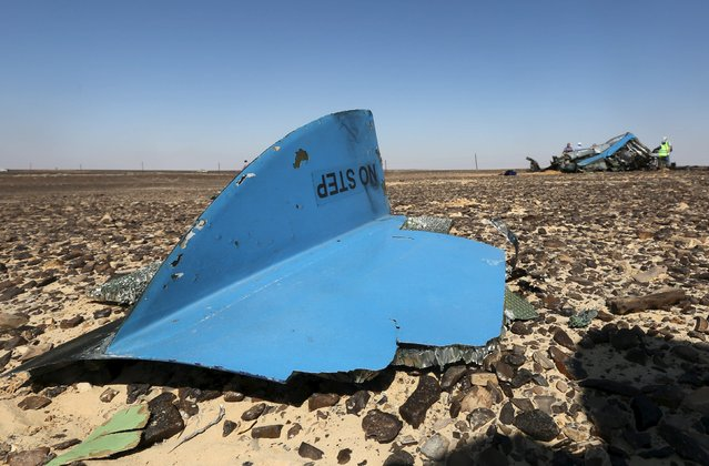 The debris from a Russian airliner is seen at its crash site at the Hassana area in Arish city, north Egypt, November 1, 2015. (Photo by Mohamed Abd El Ghany/Reuters)