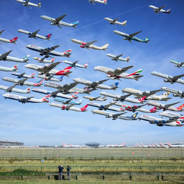 """LA-based photographer Mike Kelley has been working on his amazing """"Airportaits"""" for two years. Here: The amazing number of planes that already leave from London Heathrow. (Photo by Mike Kelley/SWINS)"""