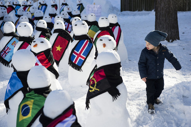 """A little boy walks next to snowmen representing the countries around the world during an exhibition from the NGO """"Action2015"""", on the sideline of the 45th Annual Meeting of the World Economic Forum (WEF), in Davos, Switzerland, 21 January 2015. The overarching theme of the Meeting, which takes place from 21 to 24 January, is """"The New Global Context"""".  (Photo by Jean-Christophe Bott/EPA)"""