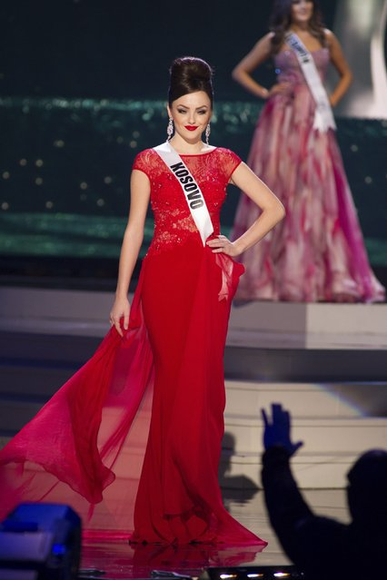 Artnesa Krasniqi, Miss Kosovo 2014 competes on stage in her evening gown during the Miss Universe Preliminary Show in Miami, Florida in this January 21, 2015 handout photo. (Photo by Reuters/Miss Universe Organization)