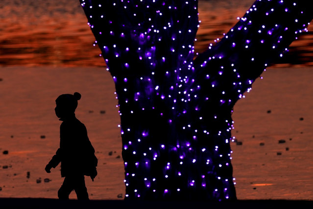 A boy wears masks to prevent the spread of the coronavirus as he looks at a holiday display on a mild day Saturday, December 26, 2020, in a park in Lenexa, Kan. (Photo by Charlie Riedel/AP Photo)