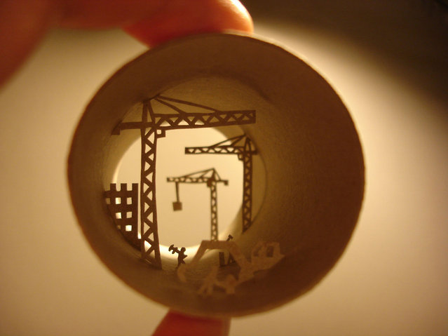 Toilet paper roll art of a construction site. (Photo by Anastassia Elias/Caters News)