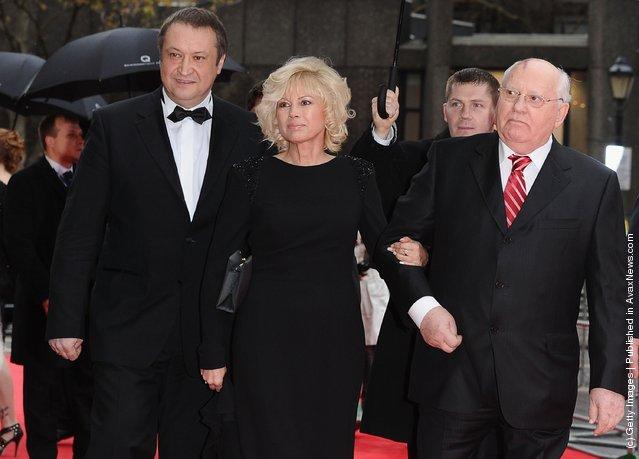 Mikhail Gorbachev and his daughter Irina Virganskaya and her husband Andrey Trukhachev