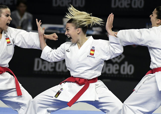Spain's Lidia Rodriguez, Spain's Marta Garcia and Spain's Raquel Roy compete in the Kata team female final during the 24th Karate World Championships at the WiZink center in Madrid on November 11, 2018. (Photo by Javier Soriano/AFP Photo)