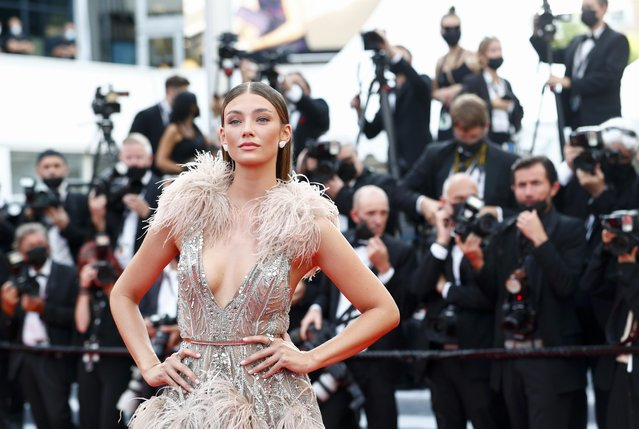 """German model Lorena Rae arrives for the screening of the film """"Tout s'est Bien Passe"""" (Everything Went Fine) at the 74th edition of the Cannes Film Festival in Cannes, southern France, on July 7, 2021. (Photo by Johanna Geron/Reuters)"""