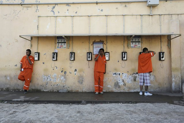 Inmates speak on phones at the Topo Chico prison during a media tour, in Monterrey, Mexico, February 17, 2016. (Photo by Daniel Becerril/Reuters)
