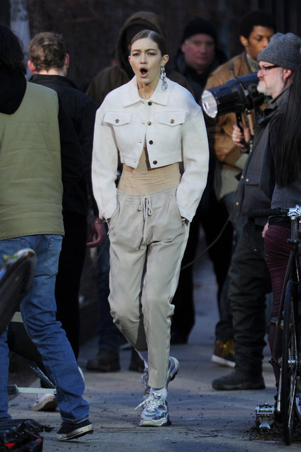 Gigi Hadid  photo shoot in NYC on January 11, 2019. (Photo by Splash News and Pictures)