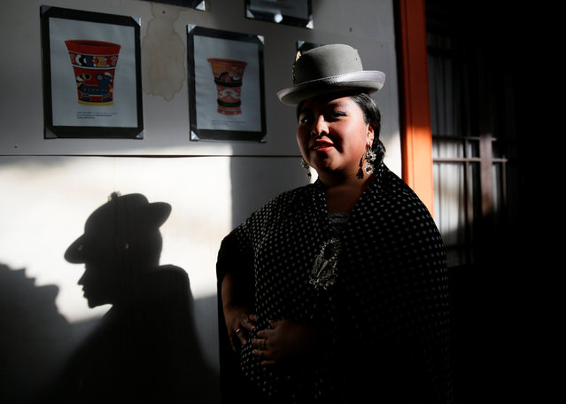 A Cholita (Andean woman) model poses a practice session of Rosario Aguilar fashion model school in La Paz, Bolivia, February 23, 2019. (Photo by David Mercado/Reuters)