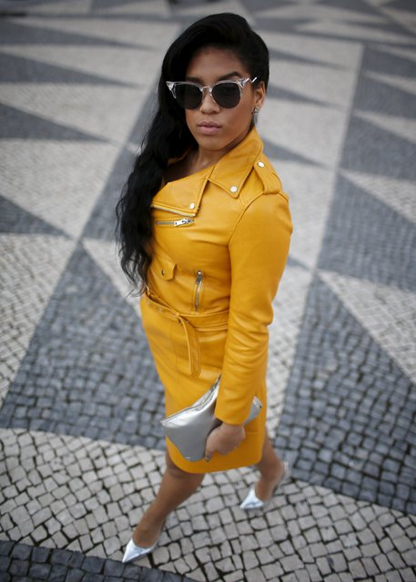 A visitor poses for a portrait during Lisbon Fashion Week, Portugal, March 12, 2016. (Photo by Rafael Marchante/Reuters)