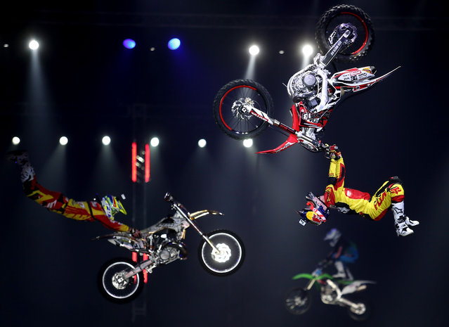 Competitors in the Big Air challenge at the Proryv-2016 festival of extreme sports in Moscow, Russia on March 27, 2016. (Photo by Xinhua/Rex Features/Shutterstock)