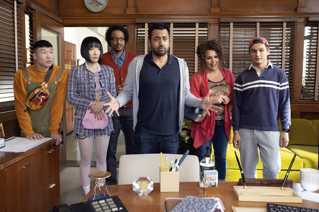 "This image released by NBC shows, from left, Joel Kim Booster, Poppy Liu, Samba Schutte, Kal Penn, Diana Marie Riva and Moses Storm in a scene from ""Sunnyside"". On Thursday night, where NBC sitcoms including ""Cheers"" and ""Friends"" ruled back in the 1980s and '90s, the network will introduce newcomers ""Perfect Harmony"" and ""Sunnyside"" to join returning comedies ""Superstore"" and ""The Good Place"" this fall. (Photo by: Colleen Hayes/NBC)"