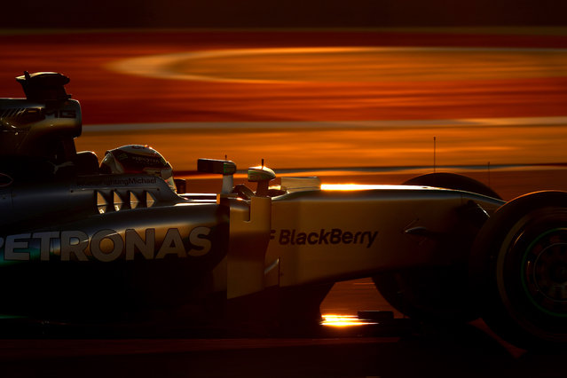 Lewis Hamilton of Great Britain and Mercedes GP drives on his way to winning the Bahrain Formula One Grand Prix at the Bahrain International Circuit on April 6, 2014 in Sakhir, Bahrain. (Photo by Paul Gilham/Getty Images)