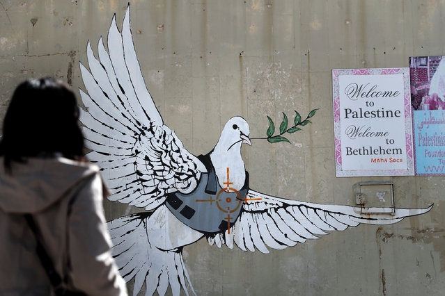 A graffiti by British street artist Banksy showing a dove with a bulletproof vest is seen in the Israeli occupied West Bank town of Bethlehem on March 15, 2017. (Photo by Thomas Coex/AFP Photo)